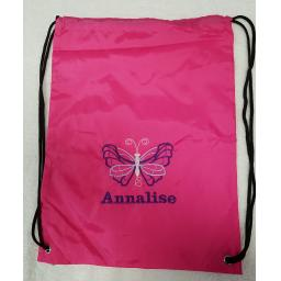 Butterfly drawstring bag with a name gymsac swim pe swim nursery bag