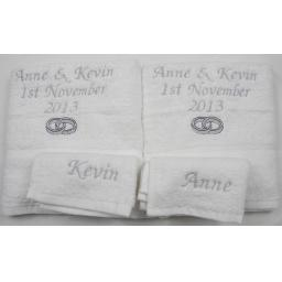 Personalised 4 piece towel set 2 hand towels and 2 face towels.