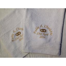 Personalised egyptian cotton anniversary wedding engagement towel set 2 bath towels with rings
