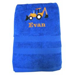 Digger bath towel with a name available in 6 colours