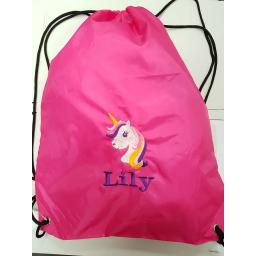 Unicorn drawstring bag with a name gymsac swim pe nursery bag