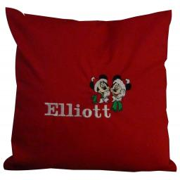 Christmas cushion personalised with Mickey and Minnie