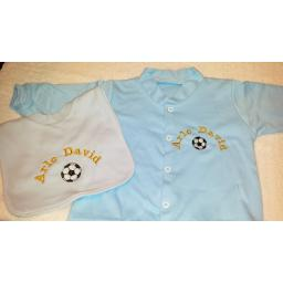 Babygro and bib set with football