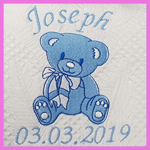 Personalised shawl with big teddy bear birth christening baby shower gift