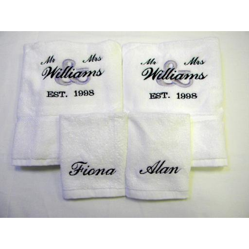 Personalised 4 piece towel set 2 hand towels and 2 face towels Mr & Mrs design.