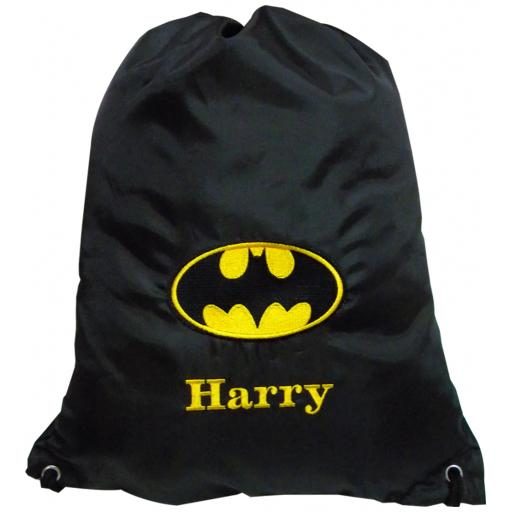 Batman drawstring bag with a name gymsac swim pe nursery bag