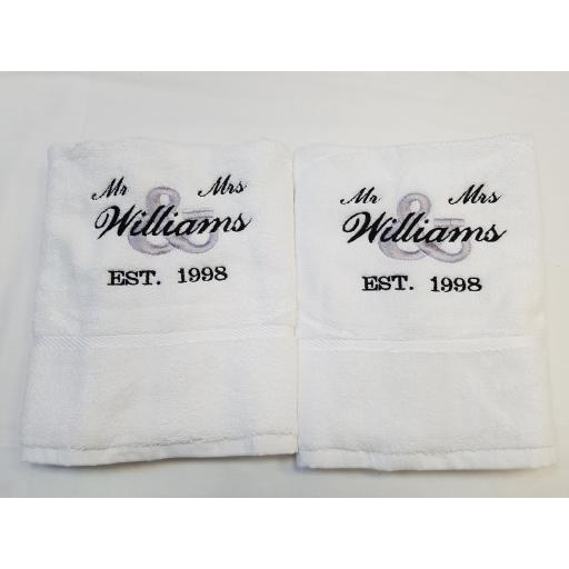 Personalised 2 piece bath towel set Mr & Mrs design egyptian cotton.