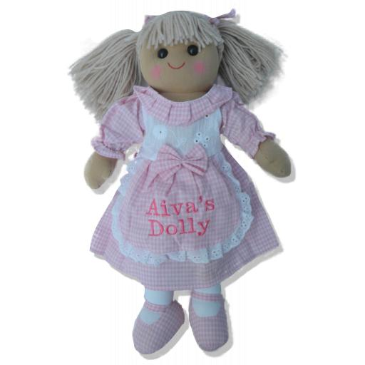 Personalised ragdoll 40cm with pink gingham dress