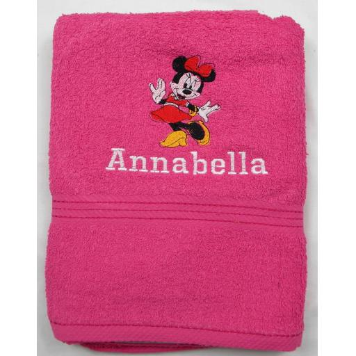 Minnie Mouse bath towel with a name available in 6 colours