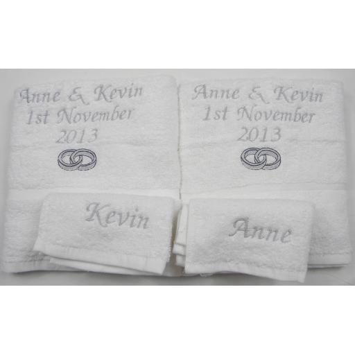 Personalised 4 piece towel set 2 bath towels and 2 face towels.