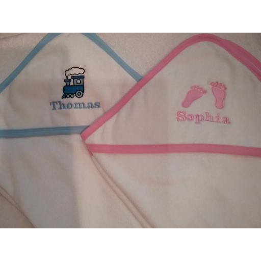 Hooded baby towel pink or blue edging