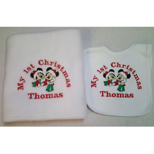 Personalised Mickey and Minnie mouse 1st Christmas blanket and bib set