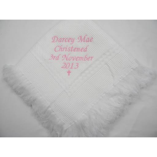 Personalised Christening Shawl with small cross