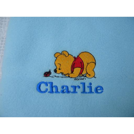 Personalised fleece baby blanket with Winnie the Pooh