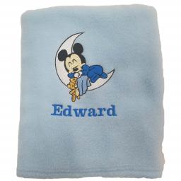 Personalised baby blanket with Mickey Mouse on the moon