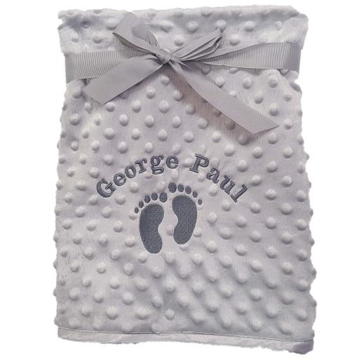 Personalised bubble blanket with footprints and a name
