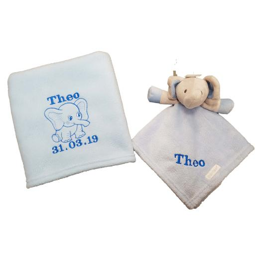 Personalised fleece elephant blanket and comforter comfort blanket with a name