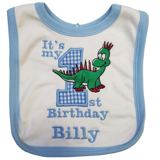 Personalised Applique 1st Birthday bib with a name and the dinosaur
