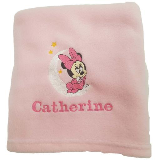 Personalised baby blanket with Minnie Mouse on the moon
