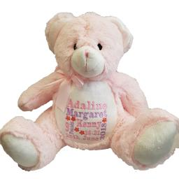 Personalised teddy bear embroidered with a name and short message of your choice