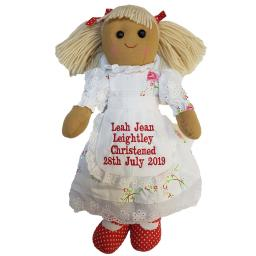 Personalised 40cm Rag doll with pink flower dress with a name
