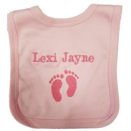 Personalised bib with footprints and name