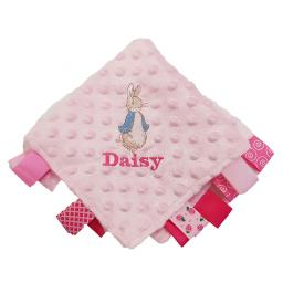 Personalised taggy comforter comfort blanket with Peter rabbit and a name