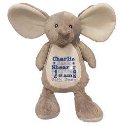 Personalised mumbles grey elephant