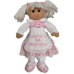 Personalised ragdoll with pink flower dress 40cm with a name