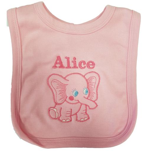 Personalised elephant bib personalised with a name