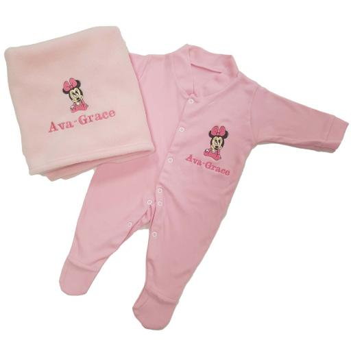 Personalised blanket and babygro gift set with Minnie Mouse