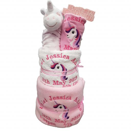 Personalised 3 tier unicorn nappy cake baby gift hamper