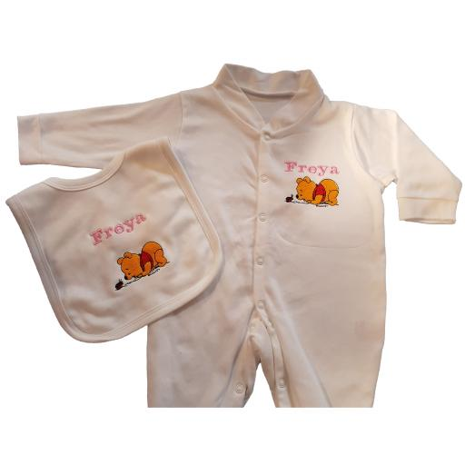 Personalised babygro and bib gift set with Winnie the Pooh bear and name