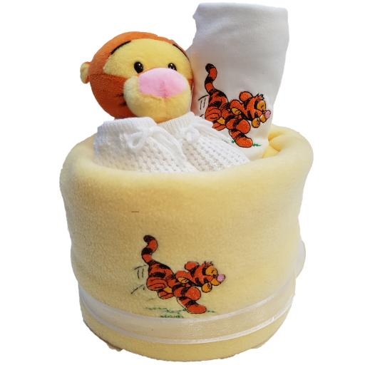 Nappy cake 2 tier with Tigger personalised with a name and date neutral baby gift