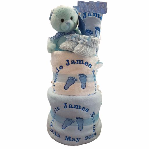 Personalised 3 tier footprints nappy cake baby gift hamper
