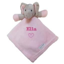 Personalised elephant comfort blanket available in blue or pink