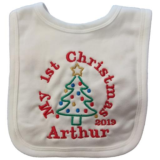 1st christmas bib with christmas tree